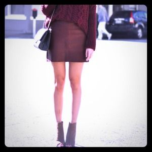 Leather burgundy skirt