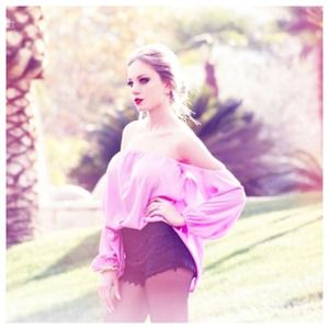 Tops - Light Purple Off The Shoulder Chiffon Top