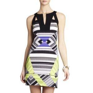 BCBG Bright Lime Combo Aida Shift Dress