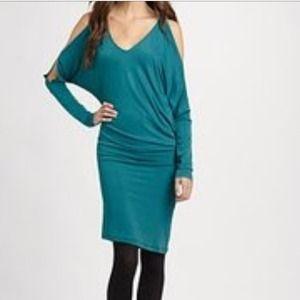BCBG Camira teal asymmetrical dress