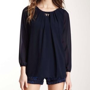 Lola navy blue top with rhinestone necklace