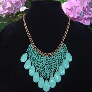 Sparkling Sage Mint Green Bib Statement Necklace