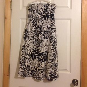 Black and white floral strapless dress