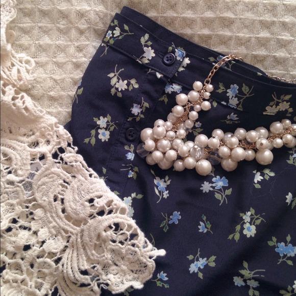 Gap Vintage Blue Button Up Floral Maxi Skirt