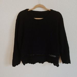 Vintage Sweaters - Vintage Black Knit Sweater