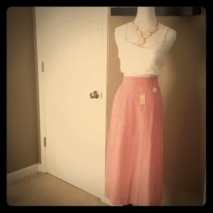 Vintage High Waist Seersucker Skirt