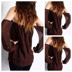 Tops - Rich Brown Off The Shoulder Chiffon Top