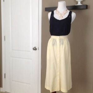 Vintage High Waist Seersucker Yellow skirt