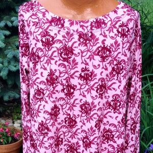 Venezia Tops - Pink long sleeved shirt with maroon designs.