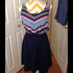 Navy blue and striped top hi low dress