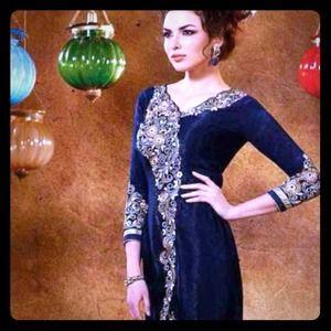Dark blue velvet dress