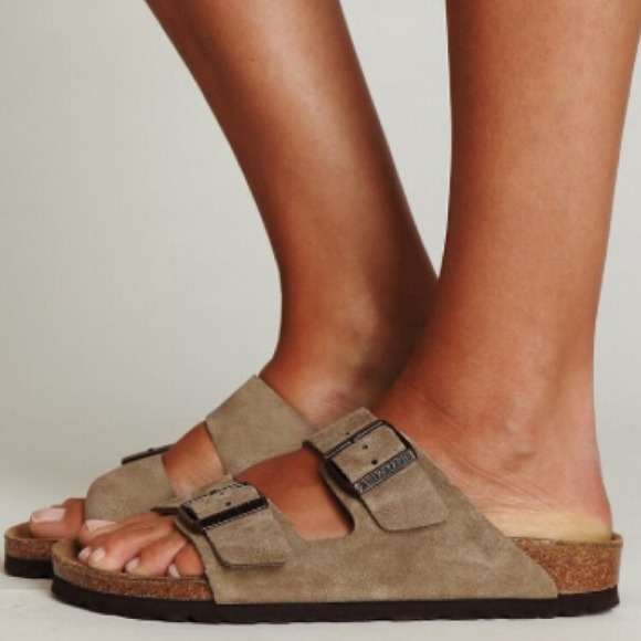 Birkenstock Shoes - Birkenstock Arizona Taupe Suede Sandals fcbd2ef55900