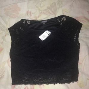 Express black lace crop top