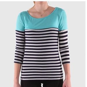 DNA Couture 3/4 Sleeve Stripe Top Mint White Navy