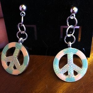 Handmade by me Jewelry - Peace Post Earrings
