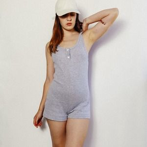 Dresses & Skirts - Grey Ribbed Playsuit