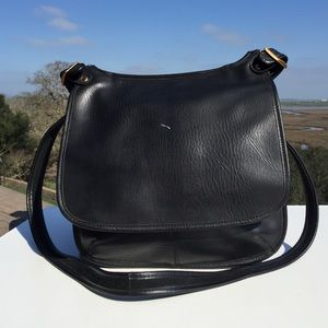 Black Leather Cross Body Saddle Bag