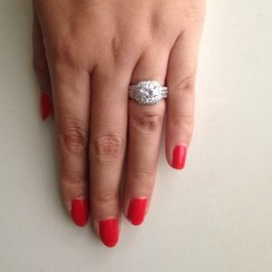 Huge 3 ct round halo engagement ring size 5 6.5