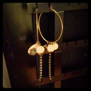 bebe Jewelry - Bebe hoop earrings with charms & rhinestones