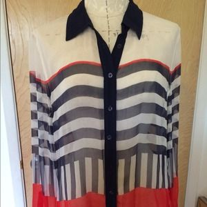 Silk Striped button down blouse sheer