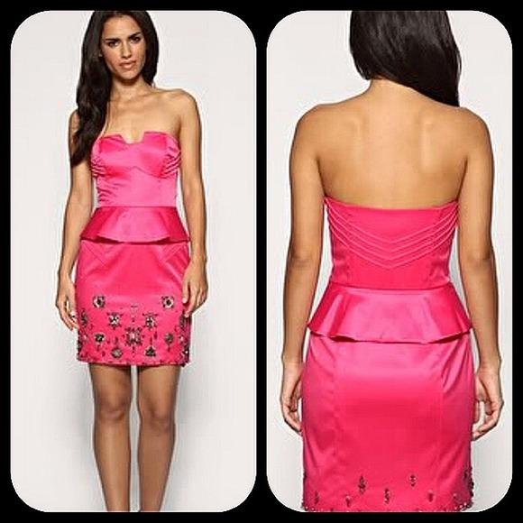 Karen millen dresses karen millen pink satin embellished peplum