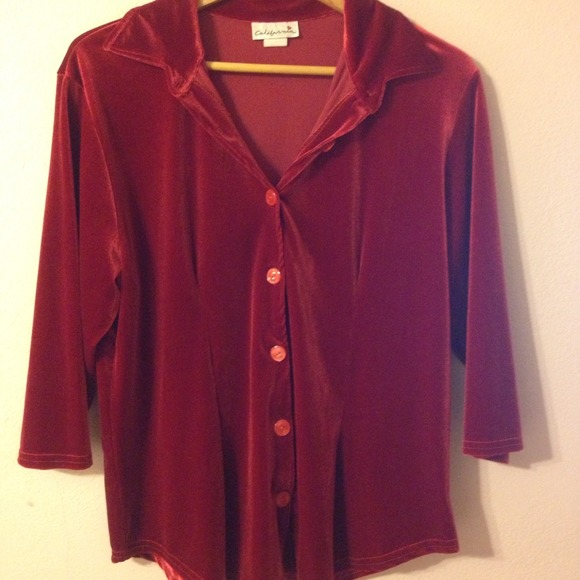 50 off tops red velvet oversized button up shirt from