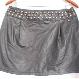 Studded Detail Leather Skirt