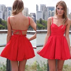 Dresses & Skirts - Red open tie back frill hem skater skirt dress