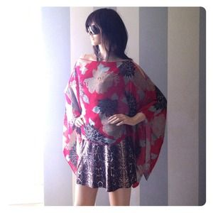 Chiffon asian floral coverup floaty loose top