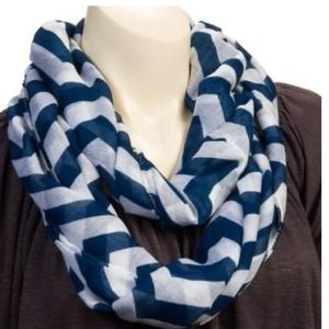 Accessories - Navy & White Chevron Infinity Loop Scarf