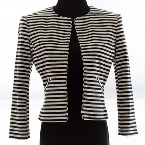 ISAAC MIZRAHI NY black & white striped crop jacket