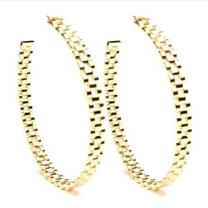 Melody Ehsani Rolee thin hoops earrings