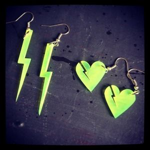 High voltage neon yellow heart earring set