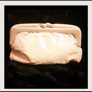 Vintage Retro 70's Leather Clutch Bag-ivory