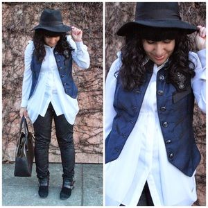 Twelve by Twelve Jackets & Blazers - Navy and Black Military Inspired Vest and Brooch