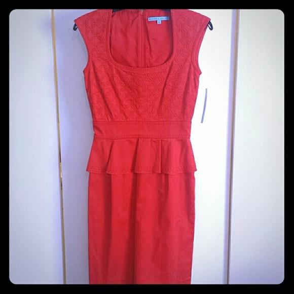 d6066c6b12 Antonio Melani red peplum dress NEW size 0