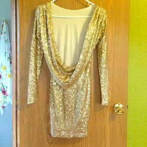 Gorgeous Gold Sparkle Glitter Drape Dress