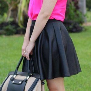 Dresses & Skirts - Black Skater (Leather Look-a-Like) Skirt
