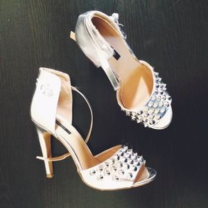 Forever 21 Shoes - Forever21 Metallic Spiked Pumps
