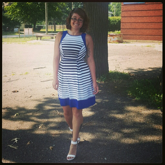 Dresses - Blue with stripes nautical dress