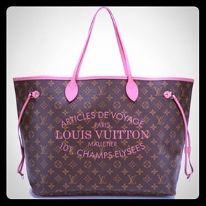 Louis vuitton limited edition monogram rayures neverfull mm tote.