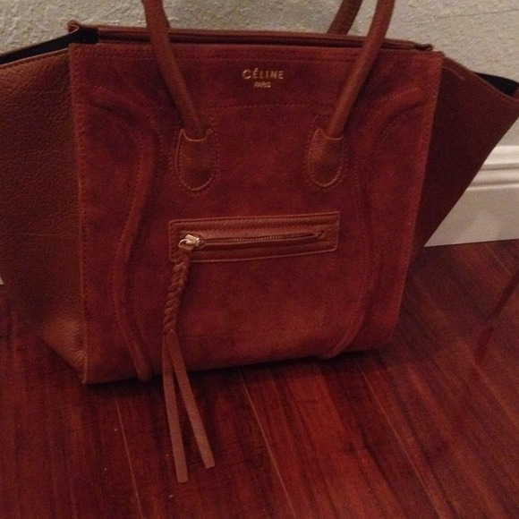 celine brown suede handbag
