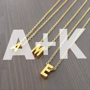 gnomesjoyclub Jewelry - Letter A & K Initial Charm, 24k Gold-Plated Chain