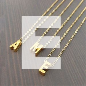 "gnomesjoyclub Jewelry - Letter ""E"" Initial Charm on 24k Gold-Plated Chain"
