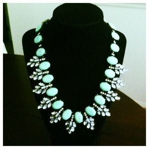 New mint necklace crystal statement