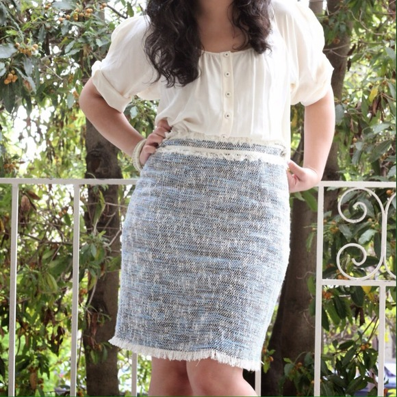 Rebecca Taylor Dresses & Skirts - Rebecca Taylor Beige/Navy Tweed Dress