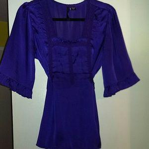Ashley Judd Tops - Purple silky tunic