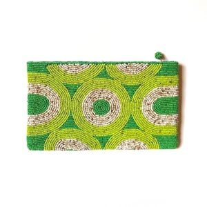 Handbags - Green Beaded Clutch