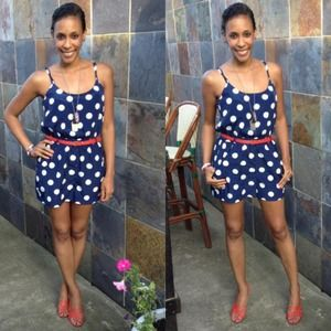 Forever 21 Other - Navy Blue & White Polka Dots Romper