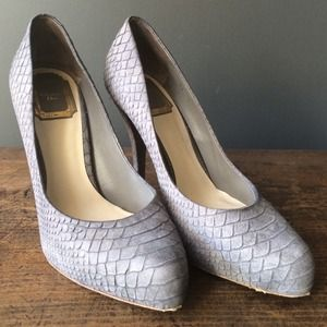 Christian Dior Shoes - Christian Dior Gray Embossed Snakeskin Pumps